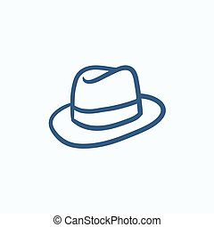Fedora hat sketch icon. - Fedora hat sketch icon for web,...