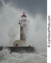 Big storm in Oporto - Porto, Portugal - February 7, 2016:...