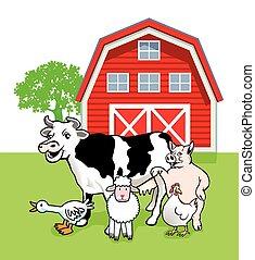 freundliche Tiere.eps - five farm animals