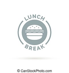 Fastfood lunch break badge sign with cheeseburger meal icon silhouette.