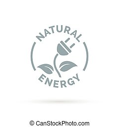 Natural electricity icon concept with electric plug and leaf...