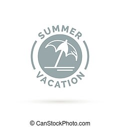Summer vacation icon with beach umbrella sign.