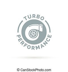 Turbo performance boost icon with turbocharger compressor...