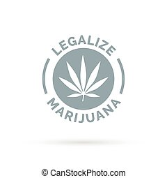 Legalize marijuana icon with cannabis leaf silhouette...