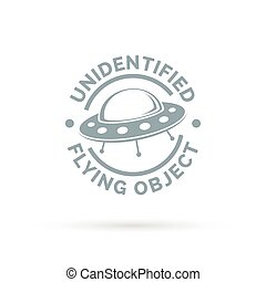 UFO icon Unidentified flying object sign Flying saucer...