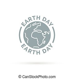Earth day icon with eco world environment symbol.
