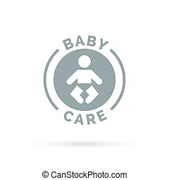 Baby day care sign with infant child icon silhouette. Vector...