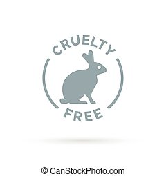 Cruelty free icon design with rabbit silhouette symbol -...