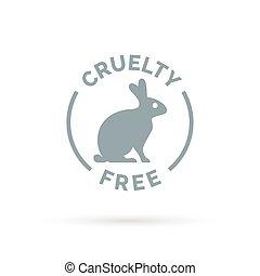 Cruelty free icon design with rabbit silhouette symbol -...