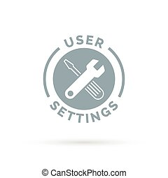 Application settings icon with grey spanner setup...