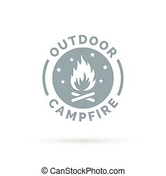 Outdoor campfire icon with wood fire and night sky sign.
