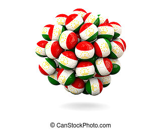 Pile of footballs with flag of tajikistan 3D illustration