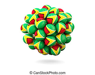 Pile of footballs with flag of guyana 3D illustration