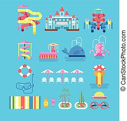 illustration set elements water park - Vector illustration...