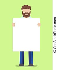 Man with placard - Man without face holding placard, vector...
