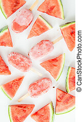 Homemade frozen popsicles with fresh water melon