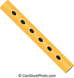 Wooden flute icon. in the style of cartoons. Flute isolated...
