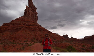 Hiking in the Valley of the Gods Mexican Hat - Woman Hiker...