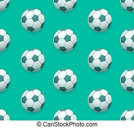 Seamless soccer ball vector pattern over green background...