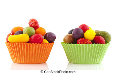 Colorful candy - colorful candy in fruit shape with orange...