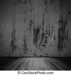 old scratched wall and wooden floor