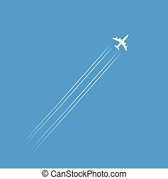 Flying plane silhouette isolated in blue sky with trails