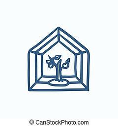 Greenhouse sketch icon - Greenhouse vector sketch icon...
