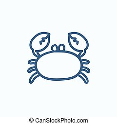 Crab sketch icon - Crab vector sketch icon isolated on...