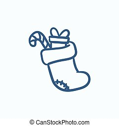 Christmas boot with gift and candy sketch icon.