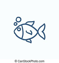 Small fish sketch icon - Small fish vector sketch icon...