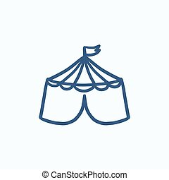 Circus tent sketch icon - Circus tent vector sketch icon...