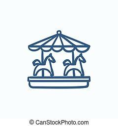 Merry-go-round with horses sketch icon. - Merry-go-round...