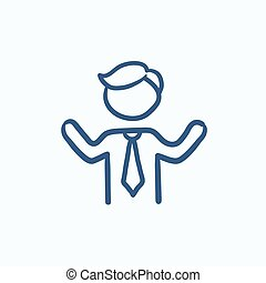 Man with raised arms sketch icon. - Man with raised arms...