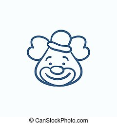 Clown sketch icon. - Clown vector sketch icon isolated on...