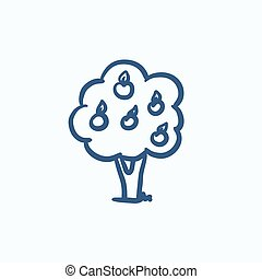 Fruit tree sketch icon - Fruit tree vector sketch icon...