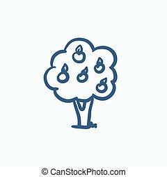 Fruit tree sketch icon. - Fruit tree vector sketch icon...
