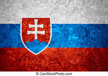 flag of Slovakia or Slovakian banner on vintage background