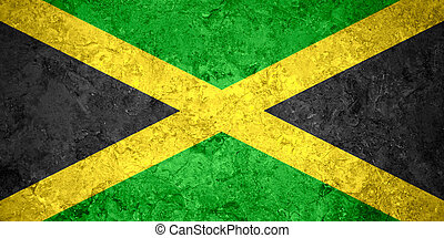 flag of Jamaica or Jamaican banner on vintage background