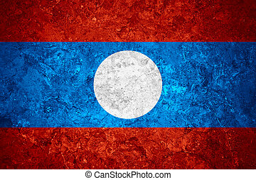 flag of Laos or Laotian banner on vintage background