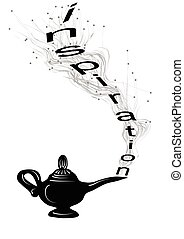 inspiration. magic lamp and text on white background