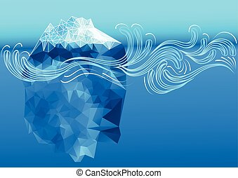 abstract iceberg with decorative waves 10 EPS