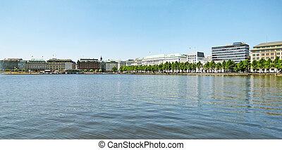 Hamburg - Panorama of Hamburg lake Alster Binnenalster
