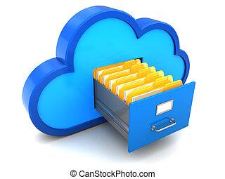 cloud archive - 3d illustration of cloud documents archive