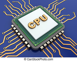 cpu - 3d illustration of CPU over blue background