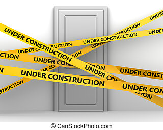home renovation - 3d illustration of door to room and 'under...