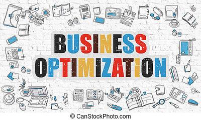 Business Optimization on White Brick Wall.