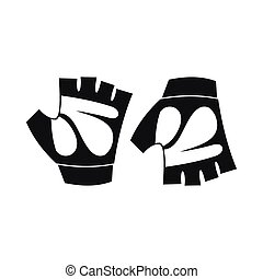 Cycling gloves icon, simple style - Cycling gloves icon in...