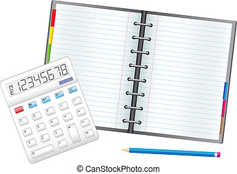 Note business - Business objects, the calculator, pencil and...