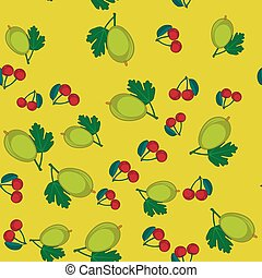 Gooseberry and cherry cartoon seamless texture 650 -...