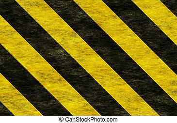 Black Yellow Hazard Stripes as Grunge Background